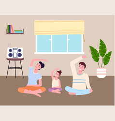 family practices yoga or fitness at home mom dad vector image