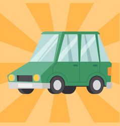 Flat green car vehicle type design sedan style vector