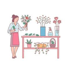 Florist woman designs flower bouquet sketch vector