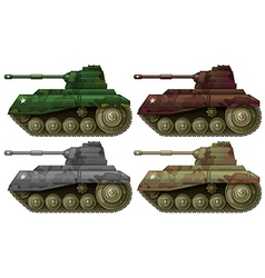 Four combat tanks vector image