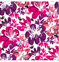 Fun pink and violet abstract floral pattern vector