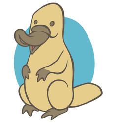 Funny cute cartoon platypus vector