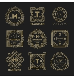 Geometric vintage abstract logo set vector