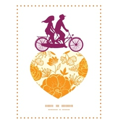 golden art flowers couple on tandem bicycle heart vector image