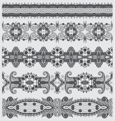grey collection of seamless ornamental floral vector image