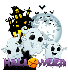 Halloween background with scary house halloween an vector