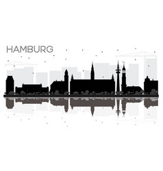 hamburg germany city skyline black and white vector image