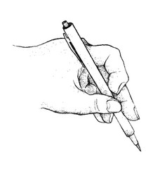 Hand holding a pen writing on paper vector