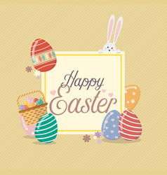 Happy easter banner template with bunny rabbit vector