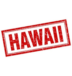 Hawaii red square grunge stamp on white vector