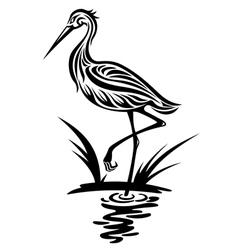 heron bird silhouette vector image