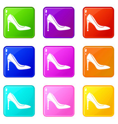 high heel shoe set 9 vector image
