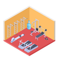 Isometric gym and fitness equipment vector