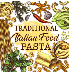Italian cuisine poster with pasta and seasonings vector