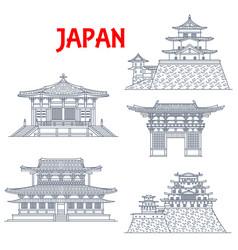 japan landmarks temples pagodas and gates osaka vector image