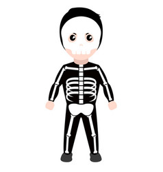 Kid with a skeleton costume halloween vector