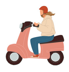 Lady riding scooter ecological transport vector