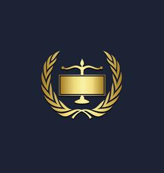 law firm emblem gold logo vector image