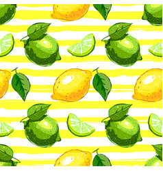 Lemon and lime fruit seamless pattern citrus vector