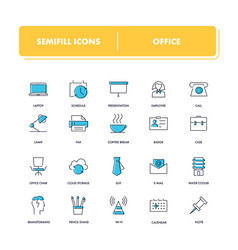 Line icons set office vector