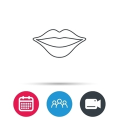 Lips icon smiling mouth sign vector