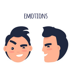 Man skeptic emotions flat concept vector