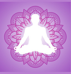 Meditation person on flower mandala frame yoga vector