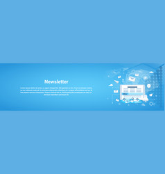newsletter concept horizontal web banner with copy vector image