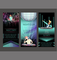 night club invitation cards dj party vector image