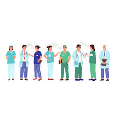 nurse and doctor cartoon medical workers with vector image