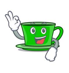 Okay green tea character cartoon vector