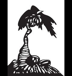 Palm tree with coconuts isolated vector image