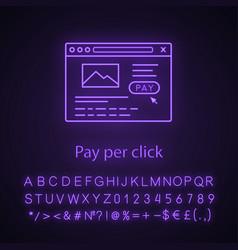 Pay per click neon light icon vector