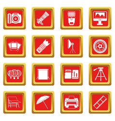Photo studio icons set red vector