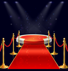 podium with red carpet ropes stanchions vector image