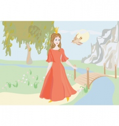 Princess with bird vector