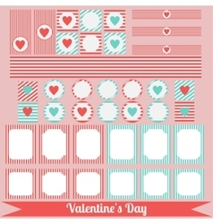 Printable set of saint valentine party elements vector image
