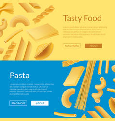 realistic pasta types web banner templates vector image