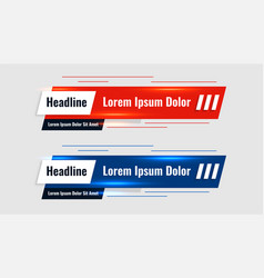 Red and blue shiny lower third template banner vector