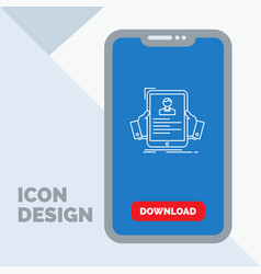 resume employee hiring hr profile line icon in vector image