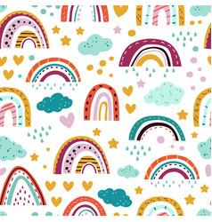 Scandinavian rainbow pattern seamless print vector