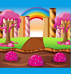 Scene with chocolate river and strawberry cream vector