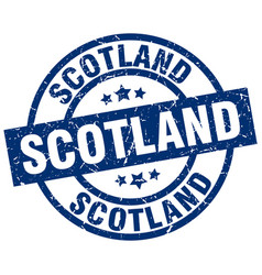 Scotland blue round grunge stamp vector