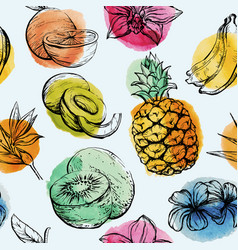 Seamless pattern with tropical flowersand fruits vector
