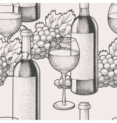 Seamless wine and grape vector image
