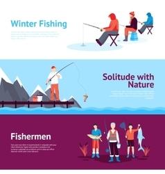Seasonal Fishing Horizontal Banners Set vector image