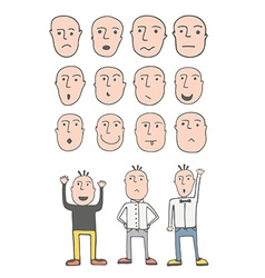 set cute hand drawn emotional faces vector image