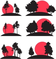 Set of landscapes with trees and risisng sun vector