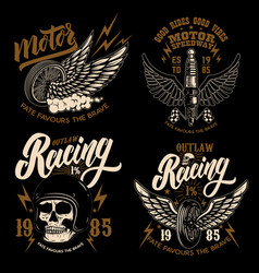 set of racer emblem templates with motorcycle vector image