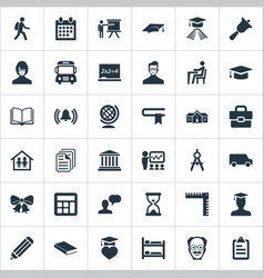 Set of simple school icons vector